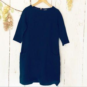 Boden Navy Blue Ribbed 3/4 Sleeve Sheath Dress